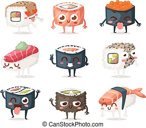 Sushi character vector isolated - Fun sushi character vector...