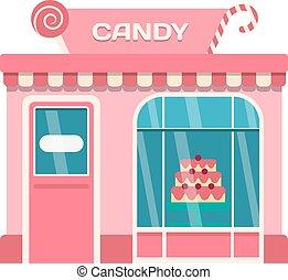 Shop facade vector illustration - Vector flat design shop...