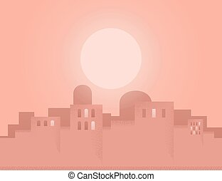 Eastern city - The sun in the Eastern city Vector...