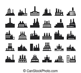Factory icon4 - Set of icons on a theme the industry. A...