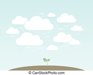 Sprout against the sky. Vector illustration