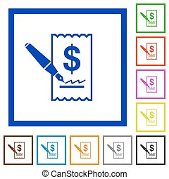 Cheque signing framed flat icons - Set of color square...