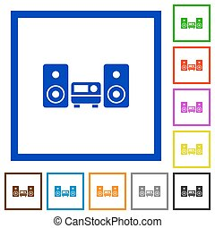 Hifi framed flat icons - Set of color square framed hifi...