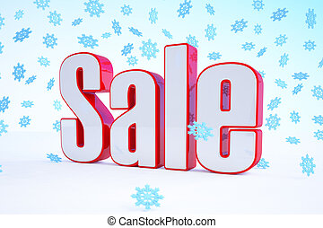3d - sale text - red-white - snowflakes - 3d rendering of...