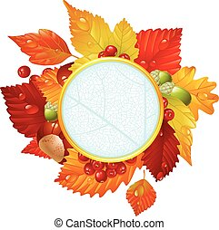 Autumnal round frame with fall leaf, chestnut, acorn and...