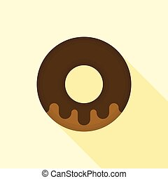 donut icon vector with long shadow