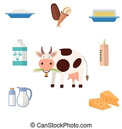 Cow and milk products icons Food and drink, cheese, butter,...