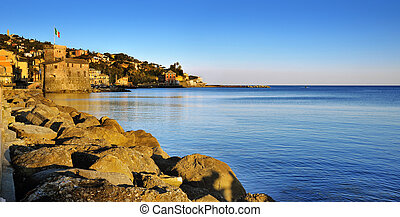 Panoramic view on medieval Castle in Rapallo, Ligure, Italy...