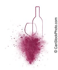 wine bottle and glass - red wine bottle and glass with...