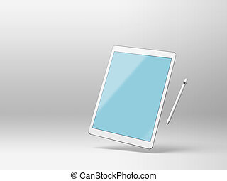 Mockup of a tablet computer on white background with stylus...
