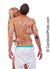 woman embracing her lover on white background