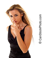 Woman Gesturing for Quiet
