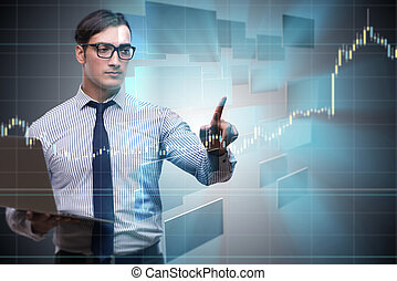 Young businessman in online trading concept