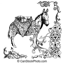 Motifs, âne, arabe