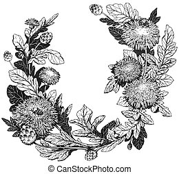 Floral wreath, hand drawn illustration
