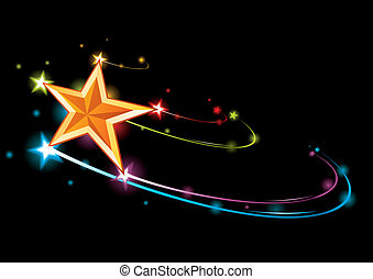 Rainbow star - Colorful background with coming gold bright...