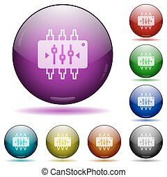Chip tuning glass sphere buttons - Set of color chip tuning...
