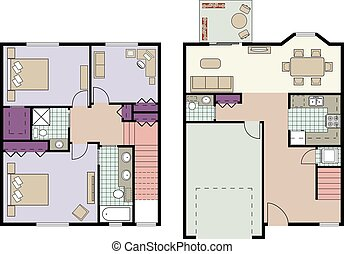 Townhouse plan - Vector of three bedroom townhouse plan