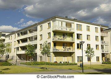 Swedish apartment Block in summer