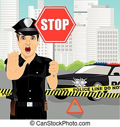 policeman holding stop sign and showing stop gesture warning about the accident near police car