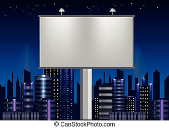 big billboard advertisement commercial blank over night city