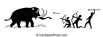 Cave paintings of tribal people hunting for woolly mammoth -...