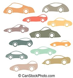 Set Of Cartoon Futuristic Cars - Set Of Vector Futuristic...