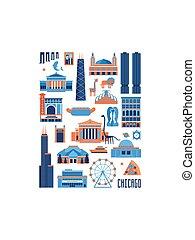 Set of Chicago landmarks in rectangle shape
