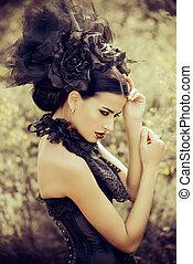 headwear vintage style - Beautiful brunette woman in long...