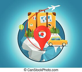 Vacation travelling concept Vector travel illustration...