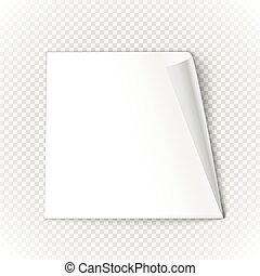 Bended paper sheet isolated on transparent background Vector...