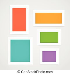 Color picture frames on a wall. Template for a content