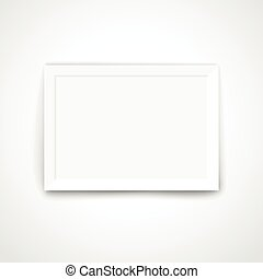 Blank picture frame on a bright wall. Template for a content