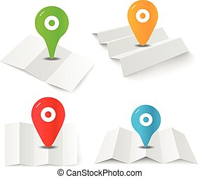 Blank white paper map with the color pins