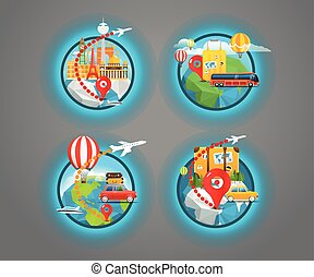 Vacation travelling icons collection. Vector travel...