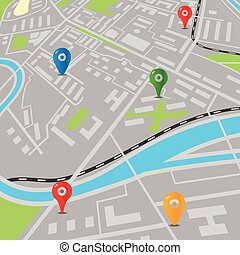 Abstract city map with color pins