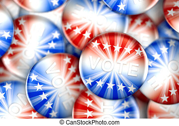 Vote buttons in red, white, and blue with stars - 3d...