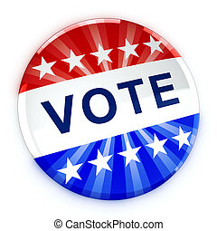 Vote button in red, white, and blue with stars - 3d...