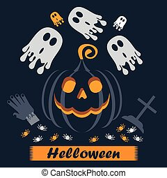 vector helloween poster cross - Vector jack o lantern...