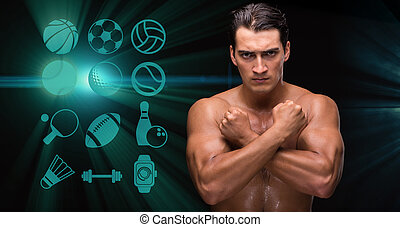 Young man in sports concept