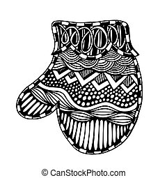 Christmas card with mitten, zendoodle design element...