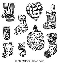 Christmas toys set. - Monochrome Christmas toys set. New...