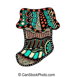 Winter boot zentangle - Christmas Winter boot in cartoon and...