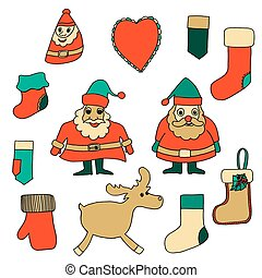 Cute Christmas toys set Vector illustration Isolated on...