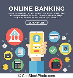 Online banking, e-banking concept. Manage bank account via...