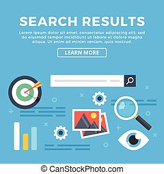 Search results, seo. Flat banner - Search results, internet...