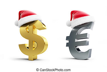 set dollar and euro sign santa hat on a white background 3d Illustrations on a white background