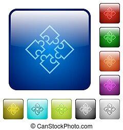 Color puzzles square buttons - Set of puzzles color glass...
