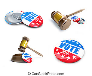 vote usa election badge button for 2016 background.. 3d...