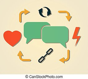 communication cycle - heart, lightning, chains, cycling and...